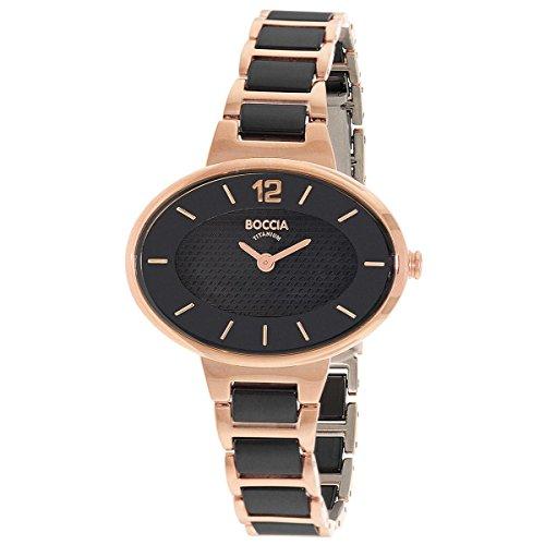 Boccia Damen Analog Quarz Uhr mit Verschiedene Materialien Armband 3261-06