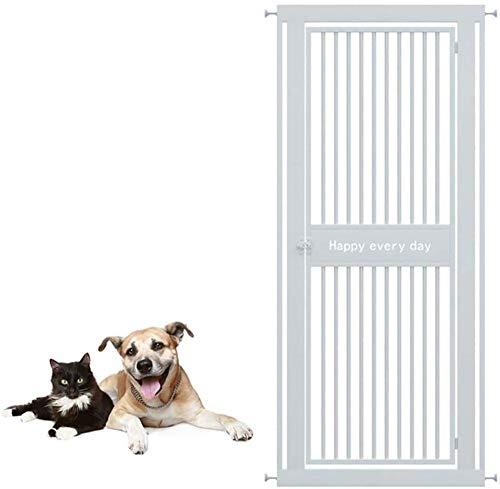 Barrera Seguridad Niños Protector Escaleras Extra Alto 130cm Puerta for Mascotas con Safety Catch Metálico, Puerta Fuerte Adecuado for Perros Grandes-Los 98-102cm_Blanco