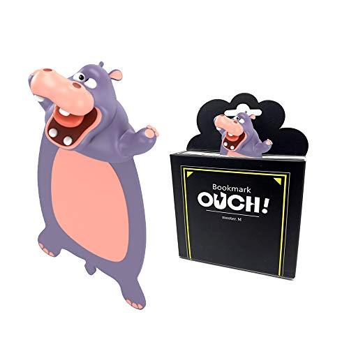 TDCQ 3D Cartoon Tier-Lesezeichen,lesezeichen kinder,bookmark animal,lesezeichen kinder,lesezeichen magnetisch,3D Stereo Cartoon schön Tier Lesezeichen Geschenk für Kinder und Erwachsene (Nilpferd)