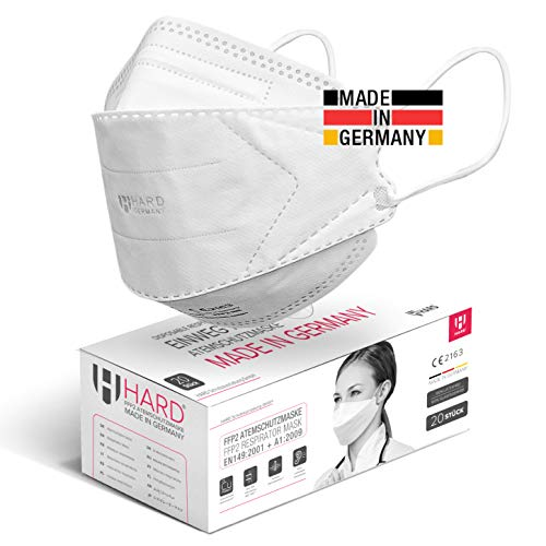 HARD 20 stück FFP2 Atemschutzmaske, Made in Germany EN 149:2001+A:2009 zertifizierte Masken, Antibakterielle Kupfer Nano Technologie, filtert 99,5%, Einzel in PE-Beutel Mundschutzmaske - Weiß