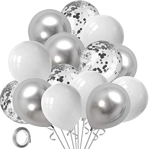 White Silver Confetti Party Balloons - 60 Pcs 12inch White Pearl Silver Metallic Chrome Latex Balloon Set with 33Ft Silver Ribbon for Wedding Engagement Birthday Baby Shower Supplies Decorations