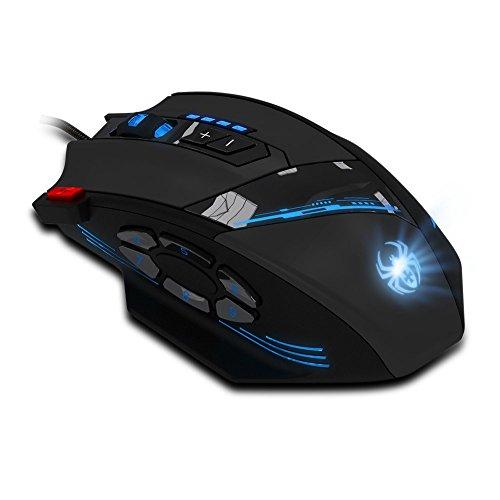 Programmierbare Laser Gaming Mouse, AFUNTA Gaming Mouse 6 Seiten Bottons Unterstützen 1000-1500-2000-4000 4 Ebenen DPI-Schalter, erlauben Double-Speed-Einstellung, die höchste Mausbewegungsgeschwindigkeit bis zu 8000DPI mit insgesamt 12 programmierbare Tasten und Funktionen der Weight-Tuning-Patrone