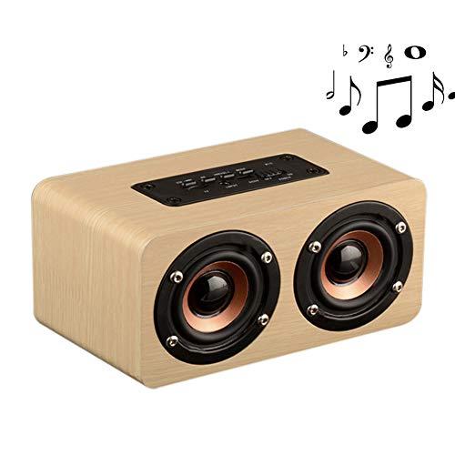 Henreal dubbele luidspreker, passief, hout, subwoofer, draadloos, draagbaar, Bluetooth, Geel