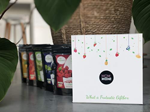 A Frutastic Giftbox *Moederdag*: unieke duurzame geschenkdoos met magnetische sluiting met daarin 5 gevriesdroogde fruitzakjes (ananas, aardbei, appel, blauwe bes, framboos). Lekkere én gezonde toets voor bij yoghurt, granola, thee, gebak, ijs, infusiewater, ...