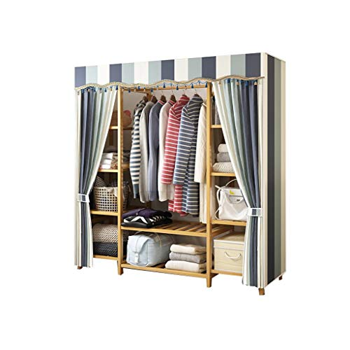 wardrobe Canvas Bedroom Clothes Storage Shelves Cupboard Hanging Rail FANJIANI (Size : 120x41x165cm)