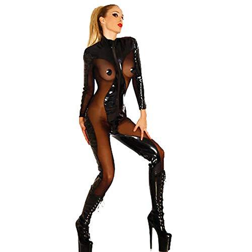 MWHDS Lack Anzug Wetlook 2-Wege-Reißverschluß Damen Langarm Catsuit Bodys Schwarz Sexy Latex Sexy Overall Nachtclub Königin Leistungsklage Dessous Nachtkleid Party,S