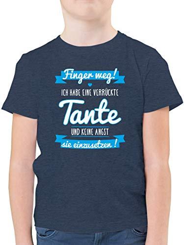 Sprüche Kind - Ich Habe eine verrückte Tante Blau - 128 (7/8 Jahre) - Dunkelblau Meliert - ostergeschenke Jungs - F130K - Kinder Tshirts und T-Shirt für Jungen