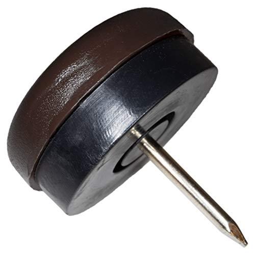 4 x Deslizante de plástico con clavo y goma | Ø 25 mm | marrón | redondas | Patas de muebles con clavo y goma de la máxima calidad de Adsamm®
