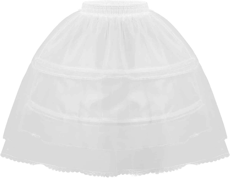 Duoremi Kids Girls Layers A-Line Petticoat Half Slip Elastic Waistband Wedding Bridesmaid Underskirt