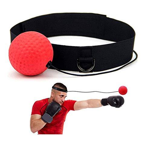 Xnature Boxen Training Ball Reflex Fightball Speed Fitness Punch Boxing Ball mit Kopfband, Trainingsgerät Speedball für Boxtraining Zuhause und Outdoor (Schwarz + Rot)