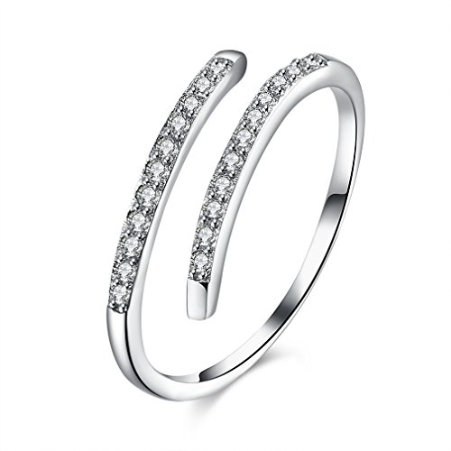 YAZILIND 925 Sterling Silver Simple Design Cubic Zirconia Opening Rings Adjustable for Women girls