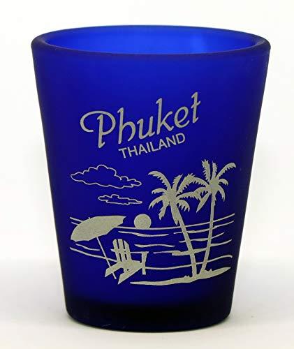 Phuket Thailand Cobalt blue Frosted Shot Glass