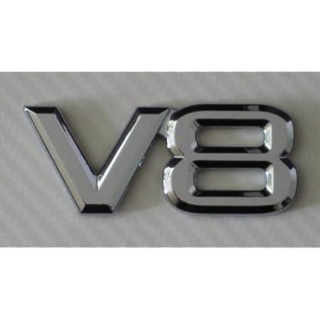 V8 Chrom Emblem Schriftzug Selbstklebend Auto