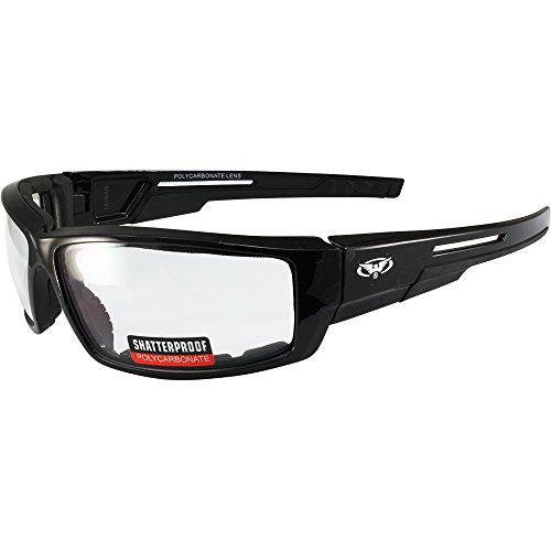 Global Vision Sly Foam Padded Motorcycle Sunglasses Black Frame (Clear)