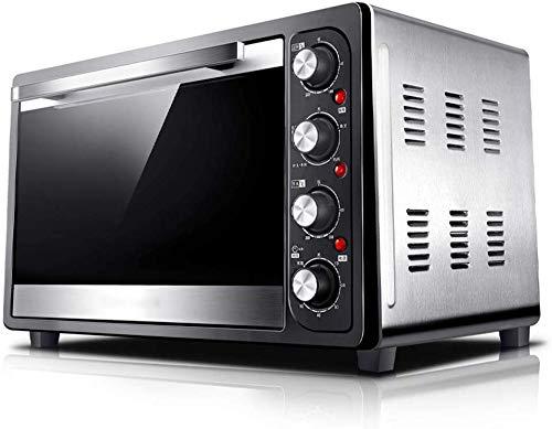 GJJSZ-Pizzaofen,48l Backautomat,Multifunktions-Reiskocher,8 Heizrohre und ölfreie Auskleidung,1800W Leistung mit Backblech und Gabel,Silber