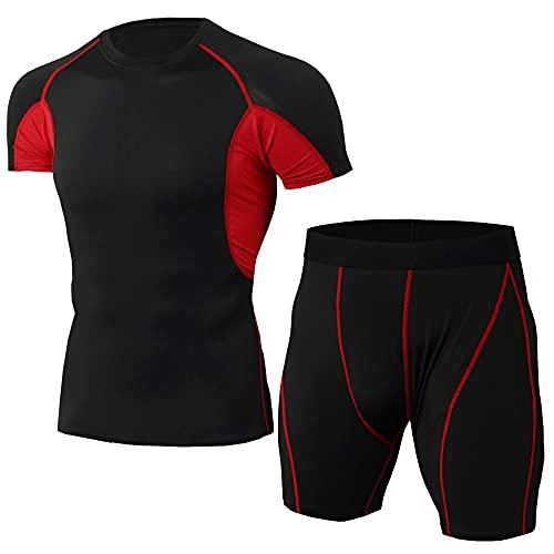Muscle Shirt Uomo Estate Classica Moda Girocollo Slim Fit Uomo Manica Corta Set Moderno Basic Stretch Uomo Compressione Shirt Palestra Allenamento Asciugatura Rapida T-Shirt