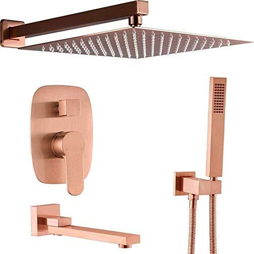 JXYQ Sistema de Ducha Oculto, Grifo de Ducha de Lluvia de 12 Pulgadas de latón de Lujo con Ducha de Mano, Juego de Grifo Mezclador de baño, Oro Rosa Cepillado