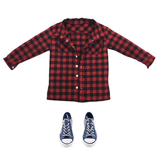 F Fityle 1/6 Camisa a Cuadros Rojos + Zapatos de Lona para Accesorios de Ropa Masculina de Figura de Acción de 12 '