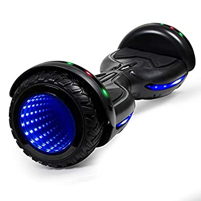 CBD Flash Hoverboard, All Terrain Off Road Two-Wheel 6.5 inch Self Balancing Scooter with Bluetooth Speaker and LED Wheel for Kids Adults, Black