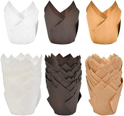 ATPWONZ 150pcs Tulip Baking Cups Muffin Cupcake Liner Unbleached Brown Natural and White Baking product image