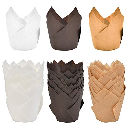 ATPWONZ 150pcs Tulip Baking Cups Muffin Cupcake Liner Unbleached Brown, Natural and White Baking Paper Cups, Rustic Cupcake Wrapper for Parties Weddings Anniversaries