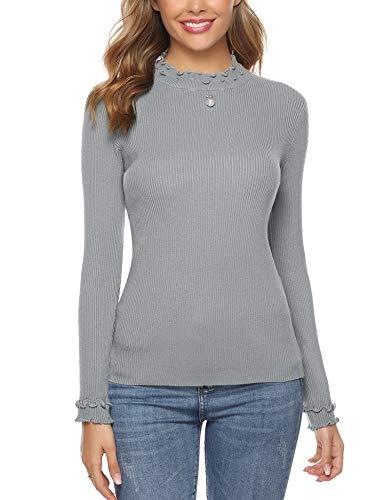 Sykooria Damen Rollkragenpullover Langram Slim Fit Rollkragen Pullover, Grau 1, L