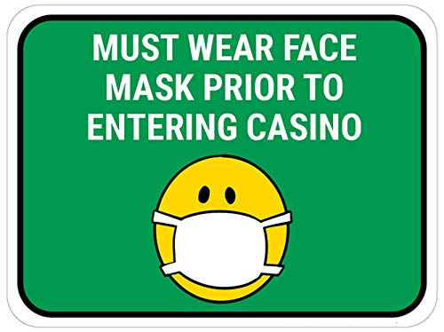 La decalcomania di sicurezza Vinly Decal deve indossare una maschera prima di entrare nel casinò - Maschera Emoji - Verde - Insegna per pavimenti 15x12 pollici Prevenire Covid 19