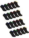 Sockenschuss 10 | 20 | 30 Paar Sneaker Socken Damen & Herren Schwarz & Weiß - Lange Haltbarkeit Dank Bester Qualität der Baumwolle (20x Black-Colored-Stripes-Mix, 47-50)