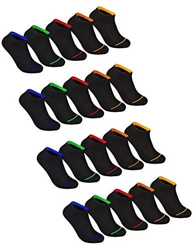 Sockenschuss 10 | 20 | 30 Paar Sneaker Socken Damen & Herren Schwarz & Weiß - Lange Haltbarkeit Dank Bester Qualität der Baumwolle (20x Black-Colored-Stripes-Mix, 43-46)
