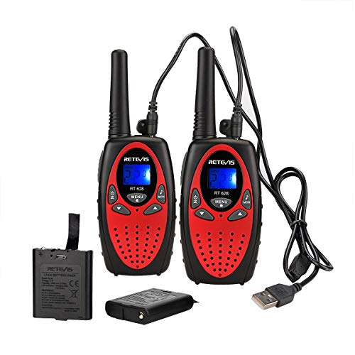 Retevis RT628 Walkie Talkies for Kids Rechargeable 22 Channel FRS Long Range Boy Girl Teen 2 Way Radio Toy(Red, 2 Pack)