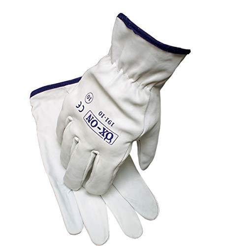 HandschuhMan. OX-ON Vollleder Arbeitshandschuhe, weiche Lederhandschuhe aus Ziegenleder Gr. 7 bis 11 (9/L)