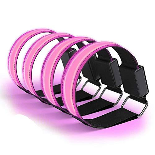 Led Armband Aufladbar, 4 Stück Reflective LED leucht Armbänder Lichtband Kinder Nacht Sicherheits Licht für Laufen Joggen Radfahren Hundewandern Running