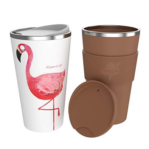 bonVIVO Beladuo Kaffeebecher To Go Im 2er Set, Thermobecher Aus Bambus & Edelstahl, Isolierbecher Hält Getränke Länger Warm, 2 Trinkbecher Mit Deckel (Je 500 ml) Für Unterwegs, Coffee Brown & Flamingo