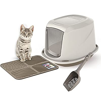 Grey Galaxy Cat Litter Tray Bundle + Grey Tray Mat + Scoop - Hooded Toilet Charcoal Filter from Bolting Darts