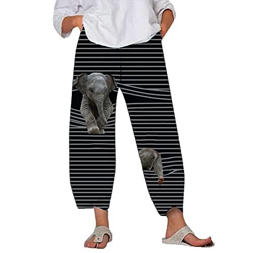 Pantalones De Primavera Y Verano para Mujer, Pantalones Casuales De Cintura EláStica con Estampado De Dibujos Animados Bonitos, Pantalones Holgados De Pierna Ancha para La Playa De Talla Grande S-5xl
