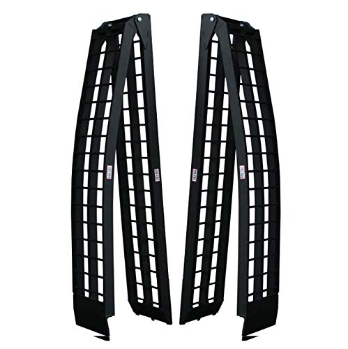 Titan Ramps Loading Truck Ramps 9' Pair ATV Folding Arched Traction 4 Wheeled