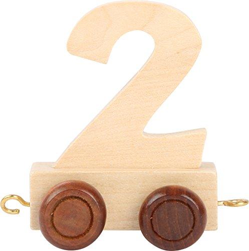 Buchstabenzug | Geburtstags Zahlen und Waggon mit Kerzenhalter | Holzeisenbahn | EbyReo® Namenszug aus Holz | personalisierbar | Geburtstag oder als Deko für den Geburtstagstisch (Zahl 2)