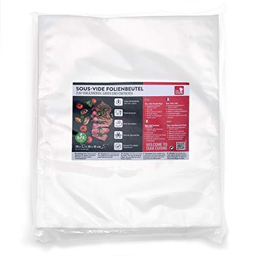 TEAM CUISINE Sous vide Folienbeutel | Vakuumbeutel | Vakuum Tüten | 50 Vakuumier-Beutel je 28 x 35 cm | reißfeste Profi-Qualität | zum Garen und Gefrieren für Vakuumiergeräte