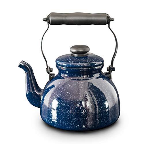 Tetera de silbadora Tetera silba azul del esmalte de acero retro de la tetera de Porcelana con la tetera for quemadores cocina de inducción accesorios de cocina y decoración Tetera hervidor con Silbat