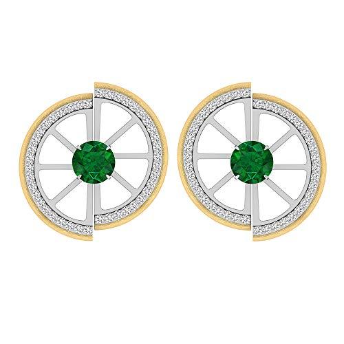 Rosec Jewels 10 quilates oro amarillo redonda Green Emerald Diamond