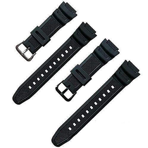 [f0vers] CASIO(カシオ)用 ウレタンラバー素材時計ベルト ブラッ ブラック ラバー ウォッチ バンド PU ストラップ 腕時計ベルト CASIO AQ-S810Wに適合する (ブラック(黒尾錠))