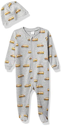 Petit Lem Boys' PL Sleep Baby 2Pc Set: Sleeper + Hat Knit, 906 Medium Heather Grey, NB