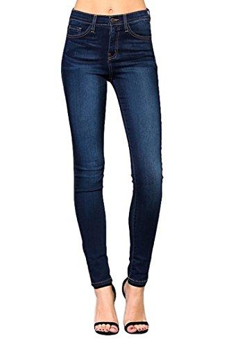 Flying Monkey Women's High Rise Super Stretchy Skinny Jeans, Dark Blue, Y1007-25