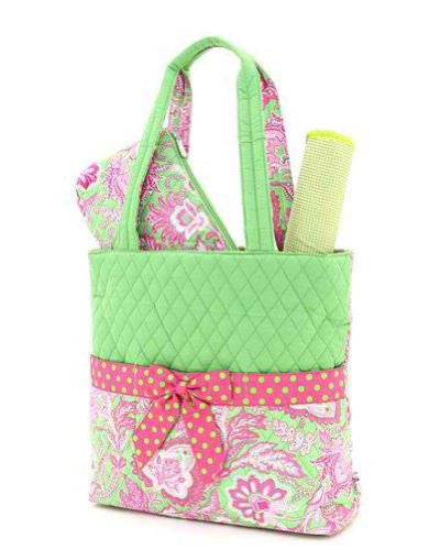 Belvah Quilted Floral 3pc Diaper Bag (Lime/ Fuchsia)