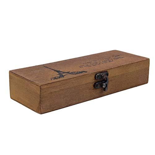fghdf Clásico titular caso de madera Torre Eiffel lápiz de la pluma Caja de almacenamiento de escritorio