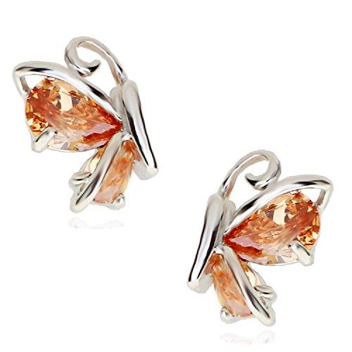 Crystalline Azuria - Orecchini a perno da donna placcati in oro bianco 18 ct, con cristalli di zirconia arancioni