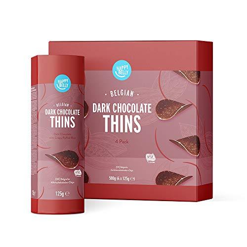 Marca Amazon - Happy Belly Láminas de chocolate negro belga, 4x125g