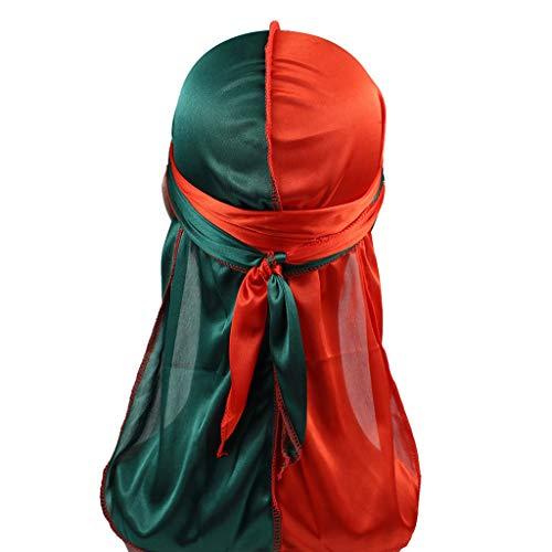 VEED Gorras de pirata Durag sedosas para hombre y mujer, 2 tonos, color block de cola larga, bandana para la cabeza, gorro de quimio, hip hop, turbante #14