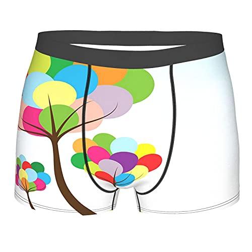 Qtchenglj Intimo da Uomo, Albero di Baloon Astratto con Colori Arcobaleno su Sfondo Bianco Spring Happy Eco, Slip Boxer Mutande Comfort Traspiranti Taglia XL