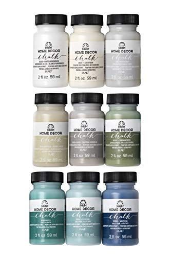 FolkArt Home Decor Ultra Matte Chalk Finish Acrylic Craft Paint Set Formulated for No-Prep Application Designed for Beginners and Artists, 2 oz Bottles, Top Colors